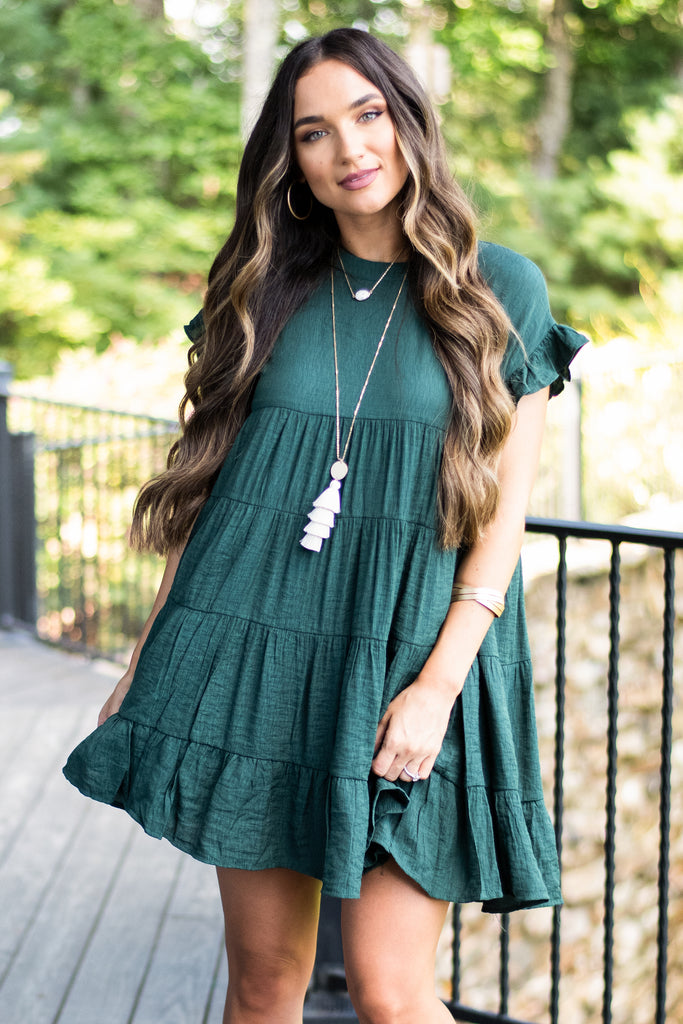 dress, casual, fall, winter, short sleeve, solid, ruffles, short, above knee, mid thigh, tiered, trendy, green, hunter, date night, round neckline, light, polyester, button