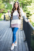 Power In Comfort Mauve Pink Colorblock Sweater