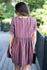 fall, dresses, fall dress, babydoll dress, flowy dress, dress with v neck, stripes, striped dress, full lining dress, short sleeves, short sleeve dress, red, red dress, red, short sleeve dress