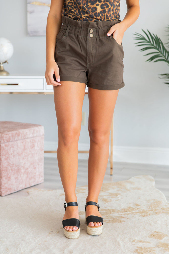 Fun In The Summer Sun Shorts, Olive