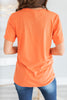 fall, halloween, graphic tees, tees, round neckline, short sleeves, halloween graphic, generous stretch, orange