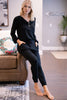 Stay Close Black Henley Jumpsuit