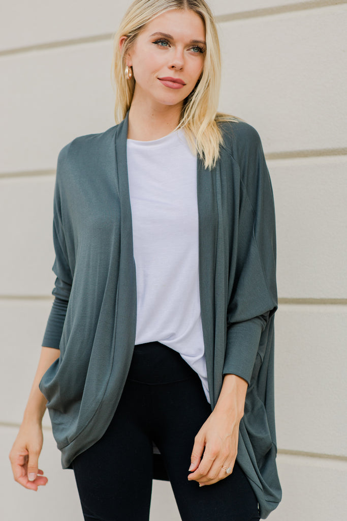 Easy On The Eyes Dark Olive Green Cardigan