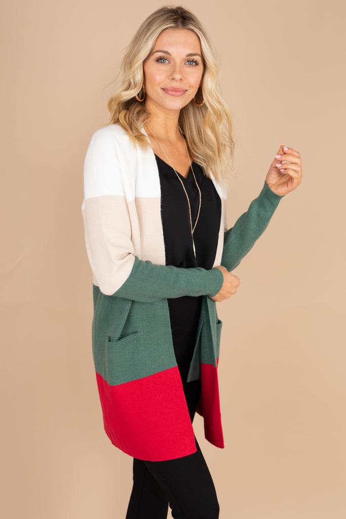cardigan, color block cardigan, color black, trendy, classic cardigan, winter, fall, long sleeves, pockets, knit fabric, red, green, white, cream, tan, oatmeal