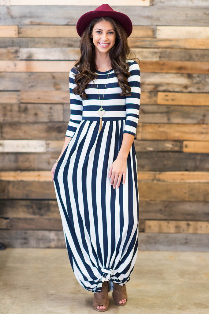 dress, maxi, stripes, striped, 3/4 sleeves, ankle length, conservative, flowy, pockets, trendy, navy, white, blue, blue and white stripes, shopping, everyday, round neckline, multi, multicolored, spandex, polyester, neutral, floor length