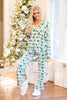 pajama, pjs, set, long sleeve, long pants, shirt, pants, top, trendy, casual, fall, winter, christmas, holiday, two piece, bottoms, trendy, print, collared, rayon, spandex, no lining, button down, white, green