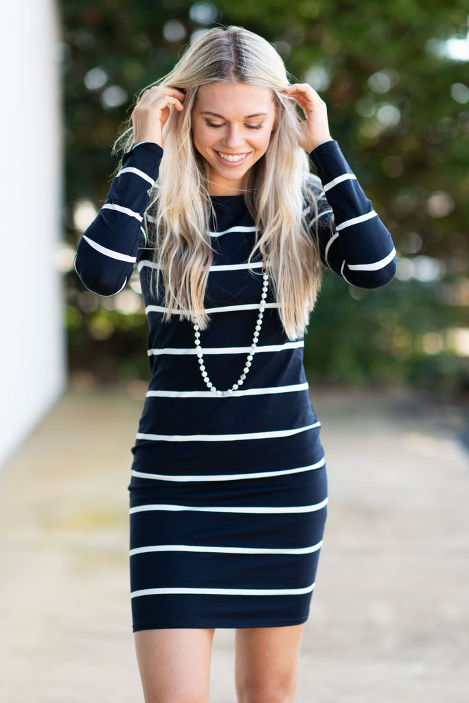 Always Look Your Best Piko Dress, Black-White