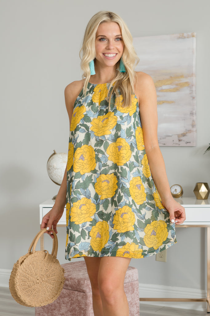 Another Place And Time Dress, Green-Yellow