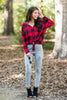 top, casual, fall, winter, long sleeve, plaid, checkered, buttons, button down, classic, buffalo plaid, tie, knot, knotted, trendy, preppy, red, black, shopping, everyday, light, spandex, polyester, bright