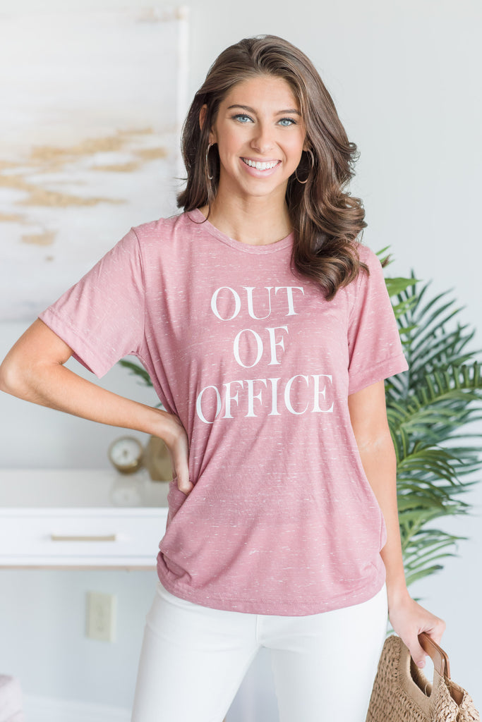 Out Of The Office Tee, Mauve Marble