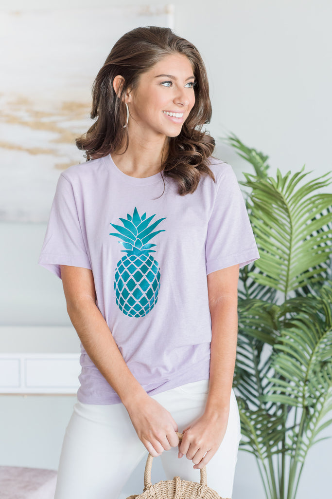 Pineapple Tee, Heathered Prism Lilac