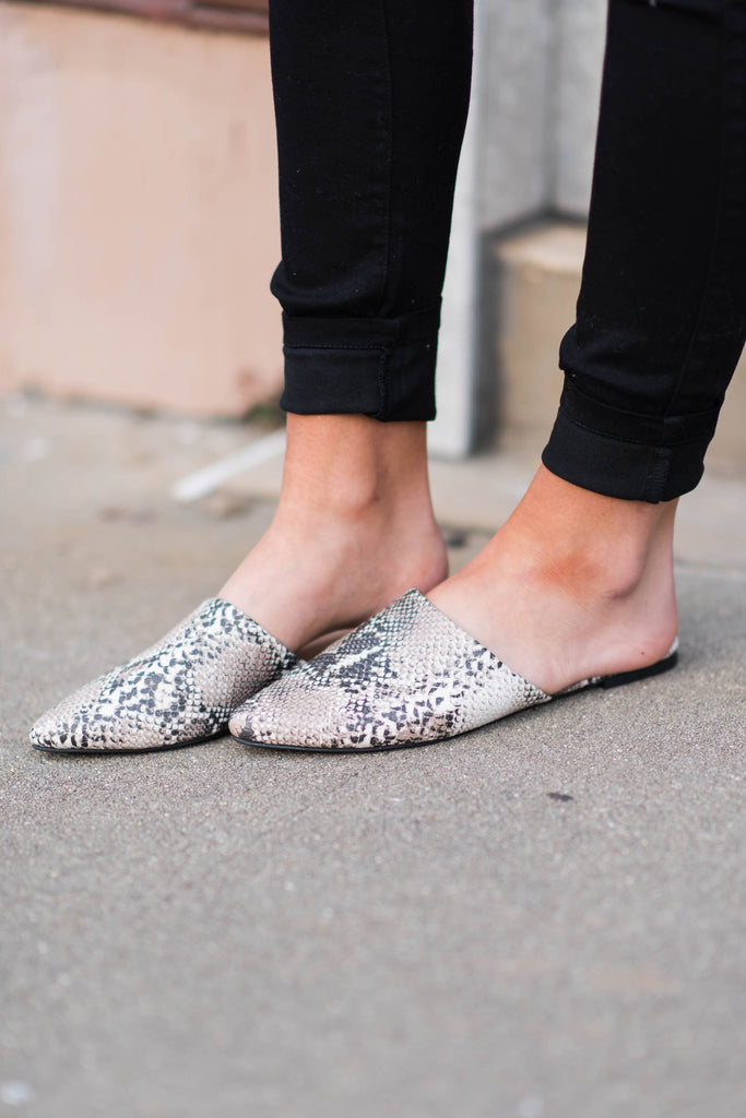 381eb538d8960 Be Your Best Self Mule Flats, Gray Snakeskin - Be Your Best Self Mule  Flats, Gray Snakeskin