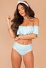 off the shoulder, ruffled detail, mint, bikini top