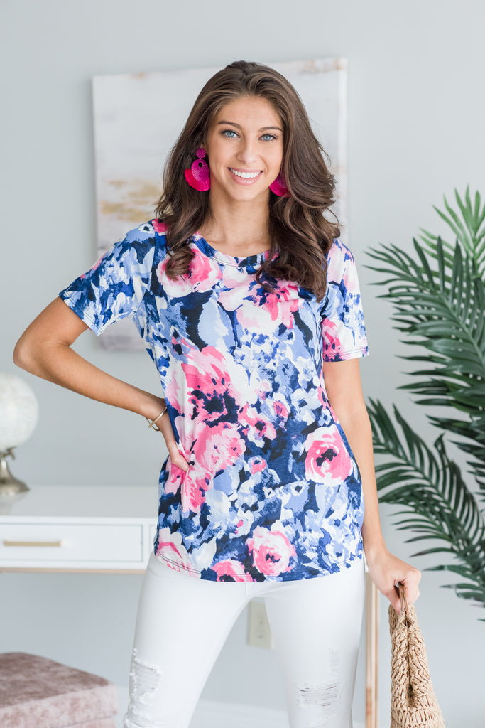 Bold For Love Top, Navy-Multi