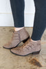 shoes, booties, fall, winter, close toed, short heel, brown, tan, solid, buckles