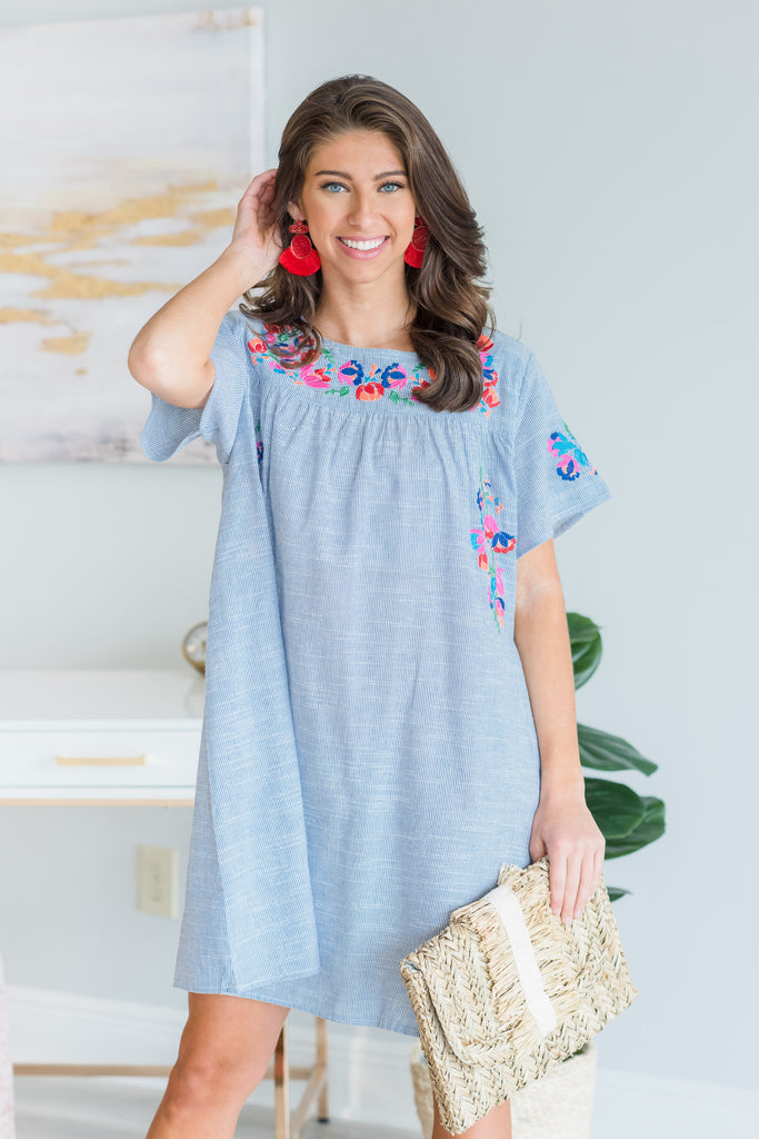 Bursting With Joy Dress, Blue
