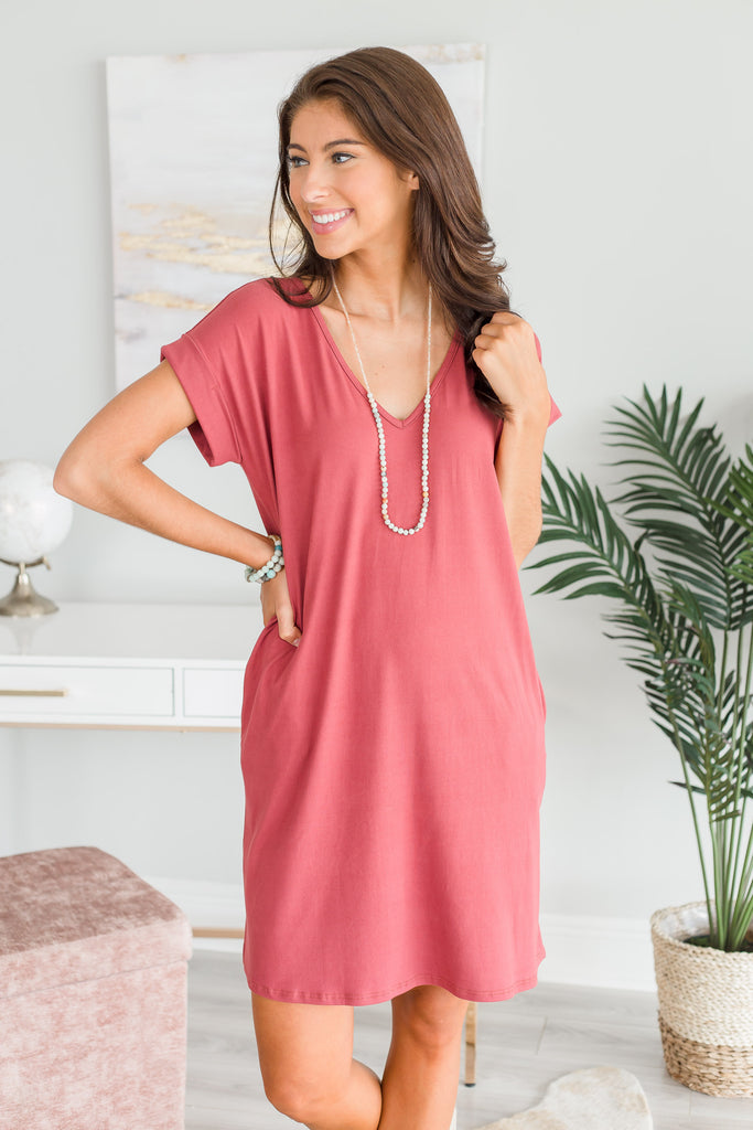 Call Me Up Marsala Red T-shirt Dress