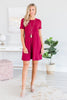 dress, solid, solid dress, red, red dress, short sleeve, short sleeve dress, t shirt dress, casual, casual dress, summer, summer dress, fall, fall dress, conservative, everyday, shopping, work, mid thigh, mid thigh dress