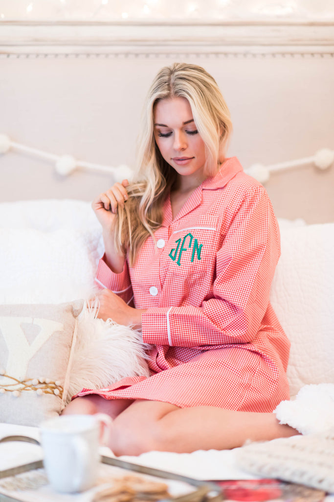 pajama, pjs, shirt, nightshirt, button down, collared, monogram, long sleeve, prints, cozy, sleepwear, trendy, pink, christmas, holiday, buttons, collared, light, cotton, no lining, mid thigh, flowy, gingham, pocket