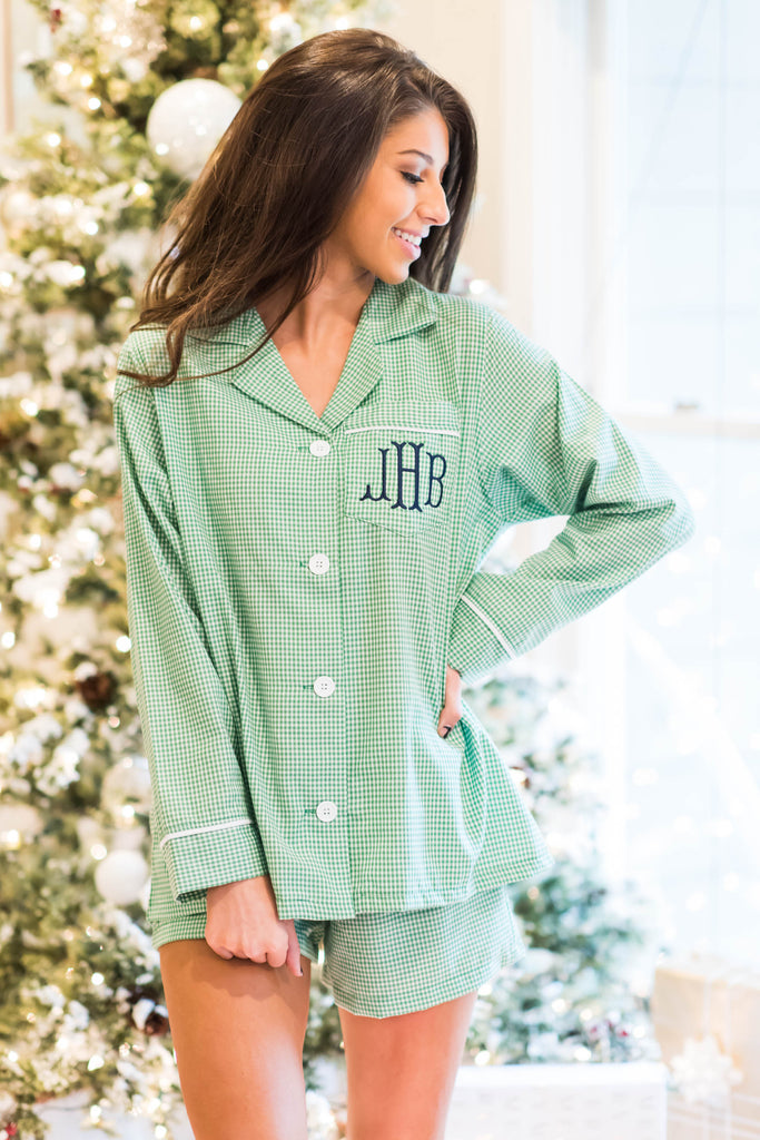 Catching Some Zzzs Pajama Shorts Set, Green