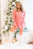 pajama, pjs, set, long sleeve, shorts, shirt, pants, top, trendy, casual, fall, winter, christmas, holiday, two piece, bottoms, trendy, print, collared, cotton, polyester, no lining, button down, red, pink, v neck