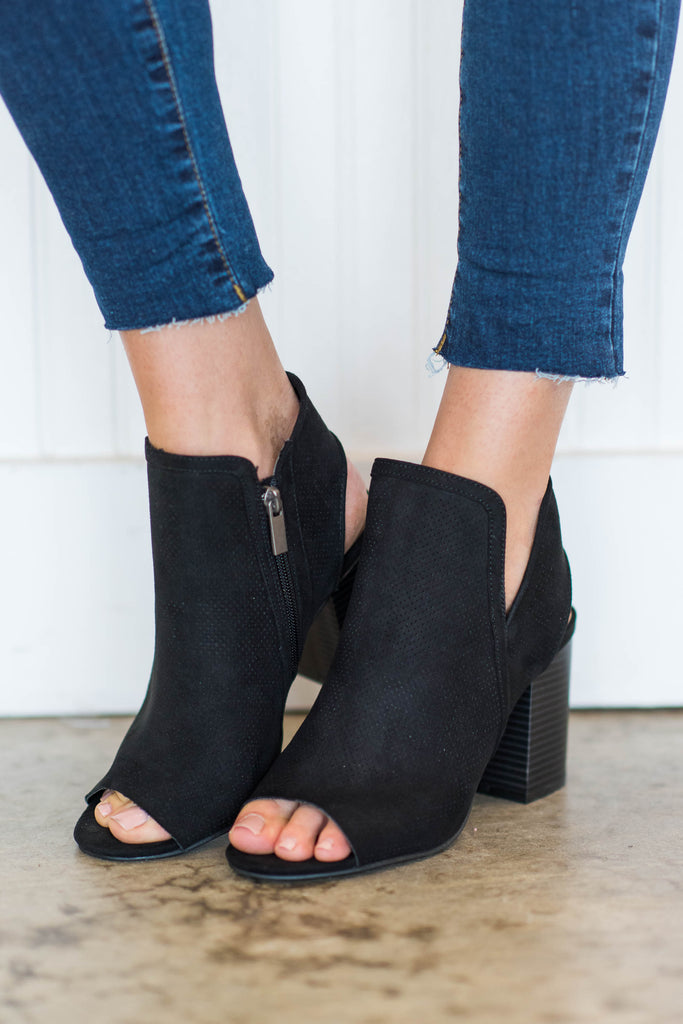 shoes, booties, fall, winter, open toed, solid, trendy, black, shopping, everyday, date night, neutral, zipper, light