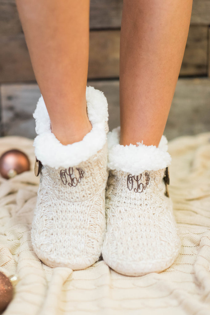 shoes, booties, slippers, sleepwear, house shoes, cozy, warm, christmas, holiday, trendy, fuzzy, ivory, white, fur, furry, snuggle, brown, taupe, monogram