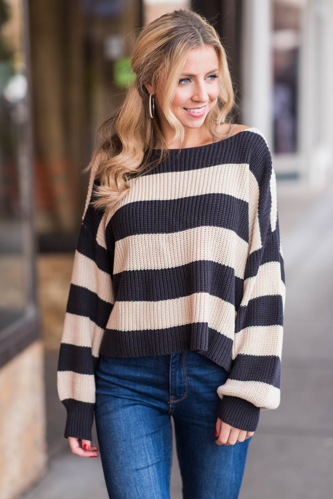 Convinced Of Cozy Sweater, Charcoal-Cream