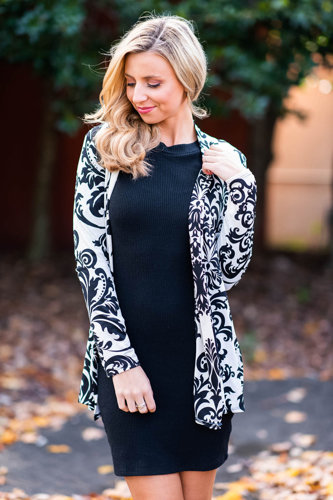 Damask Your Questions Cardigan, Ivory-Black