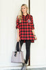 top, casual, fall, winter, long sleeve, 3/4 sleeve, plaid, checkered, red, black, monogram, monday, embroidered, embroidery, trendy, shopping, everyday, v neck, polyester, cotton, no lining, bright, thanksgiving, holidays, button