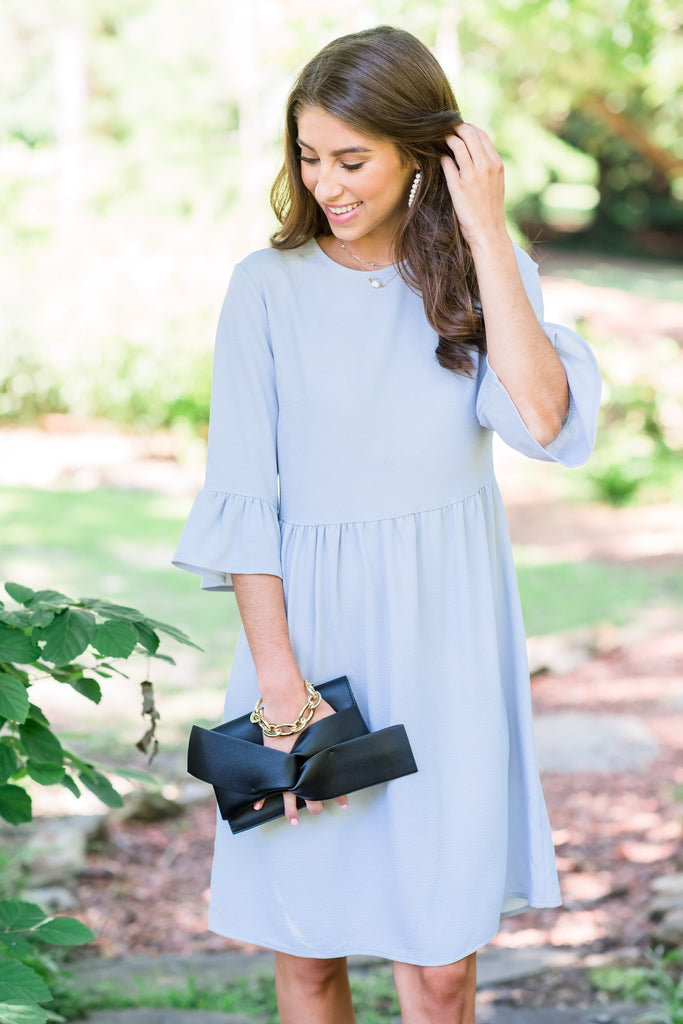 Dreaming Of The Day Silver Gray Peplum Sleeve Dress