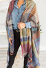 Fall Fun Camel Brown Plaid Open Poncho