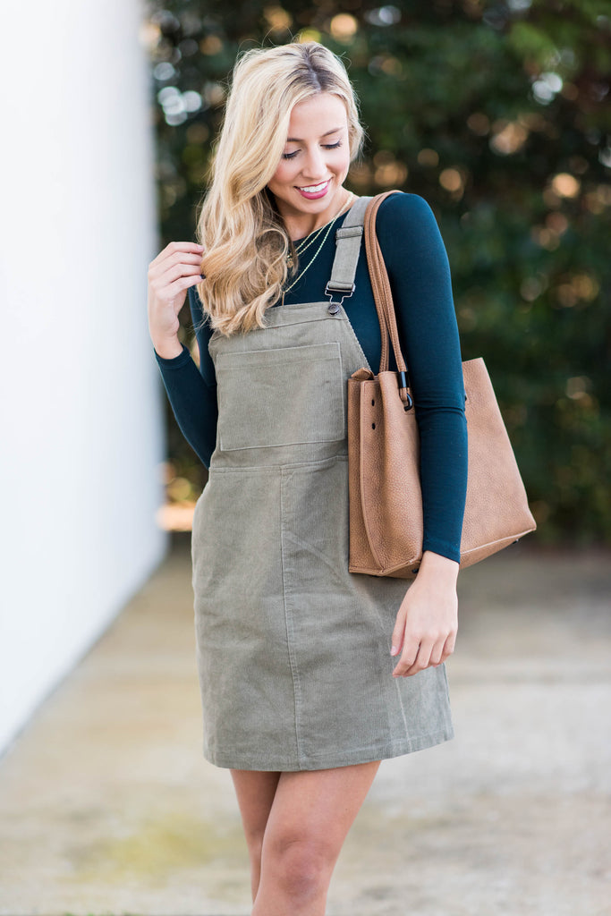 Fall Travels Olive Green Overall Dress