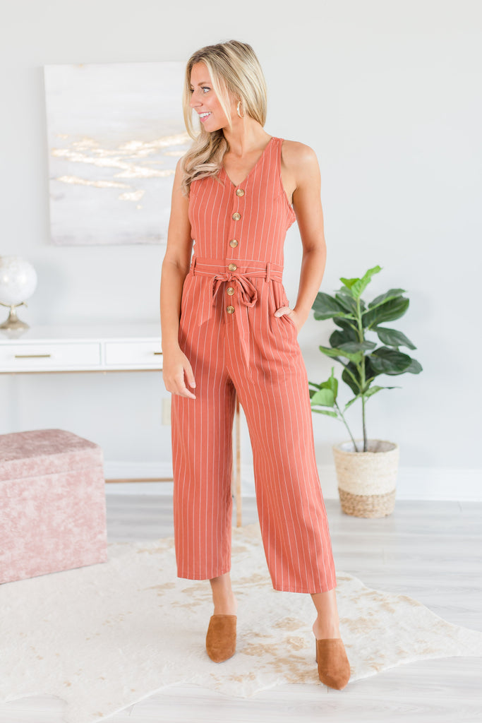 jumpsuit, stripes, striped jumpsuit, orange, white, orange and white stripes, tie waist, tied waist jumpsuit, summer, summer jumpsuit, fall, fall jumpsuit, buttons, button down jumpsuit, collar, collared jumpsuit, vacation, v-neck, v-neck jumpsuit