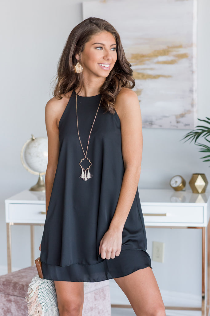 Feeling The Connection Black Layered Dress
