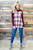 top, casual, fall, winter, long sleeve, plaid, elbow patch, red, turtle neck, comfy, cute, white, red and white, checkered, trendy, burgundy, shopping, everyday, cowl neckline, light, spandex, polyester, rayon, no lining, bright