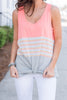 Get Out There Tank, Neon Coral-Gray