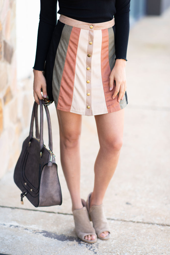 Going Places Skirt, Tan-Multi