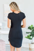 Happy To Be Here Black T-shirt Dress
