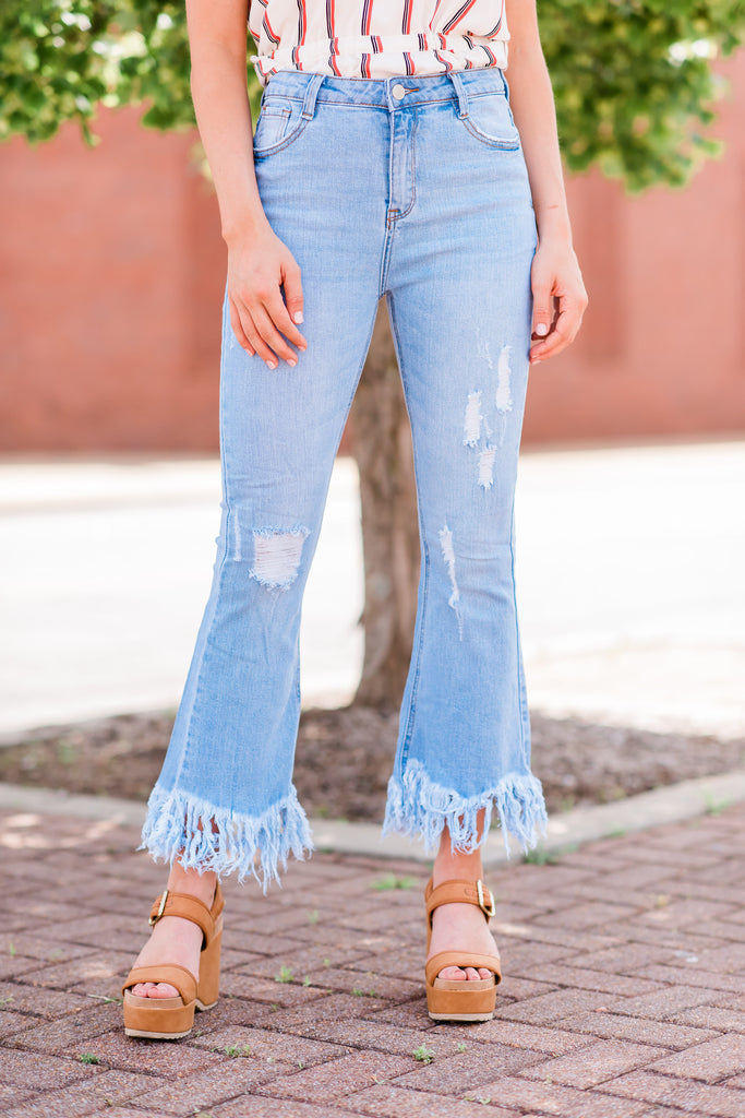 Heart In Your Hands Flare Jeans, Light Wash