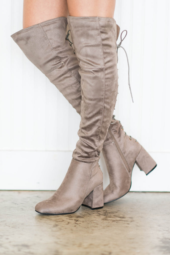 shoes, boots, tie up, solid, close toed, heels, short heel, fall, winter, over the knee, brown, everyday, date night, zipper, lace up, neutral
