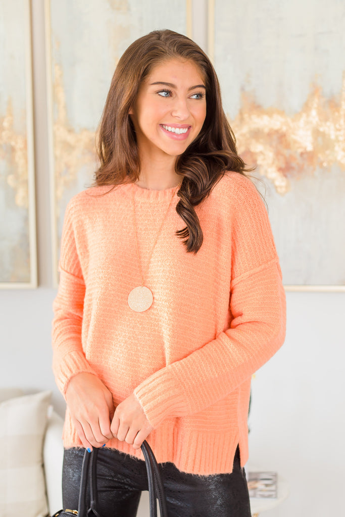 top, long sleeve, long sleeve top, sweater, solid, solid sweater, orange, orange sweater, knitted, knitted sweater, fall, fall sweater, summer, summer sweater, everyday, shopping, conservative, easy to style, cozy