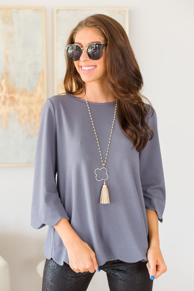 top, solid, solid top, gray, gray top, scallops, scalloped top, summer, summer top, fall, fall top, work, work top, everyday, shopping, easy to style