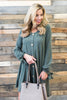 dress, short, solid, button down, winter, long sleeve, bows