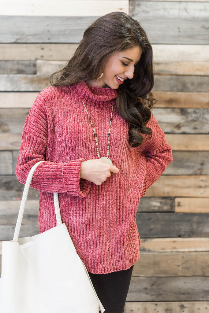 sweater, solid, turtleneck, winter, long sleeve, red