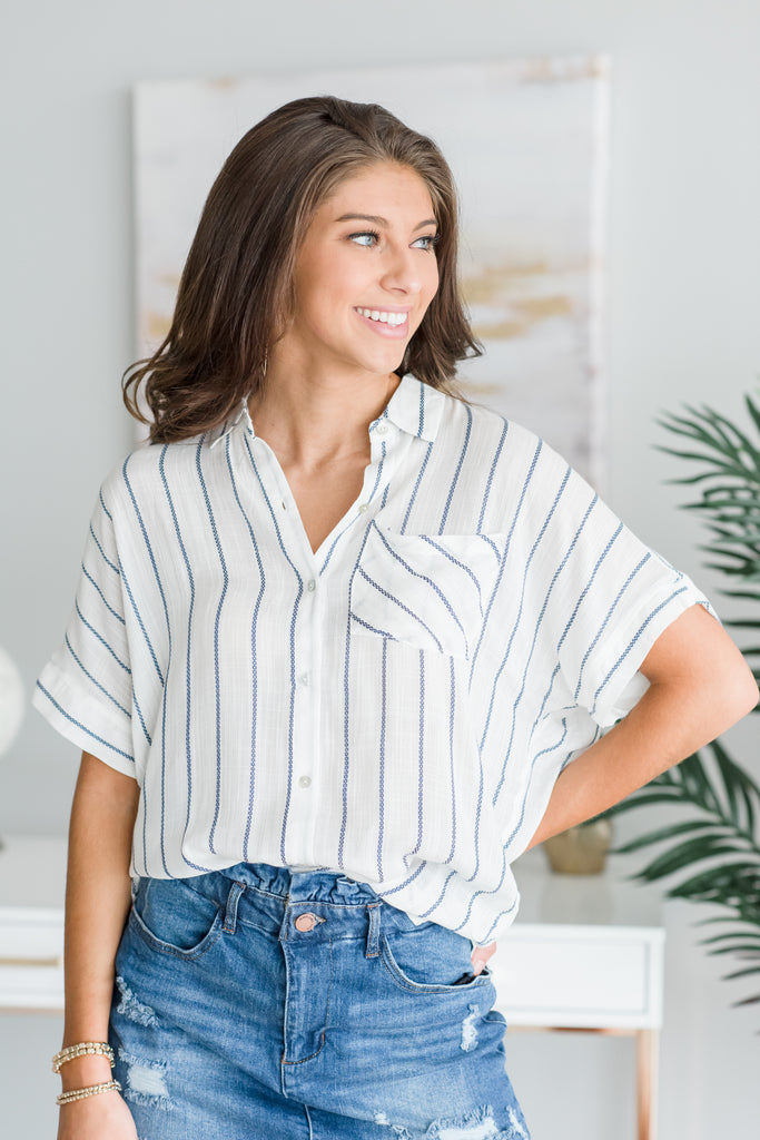 Just So Clever Top, Ivory-Navy