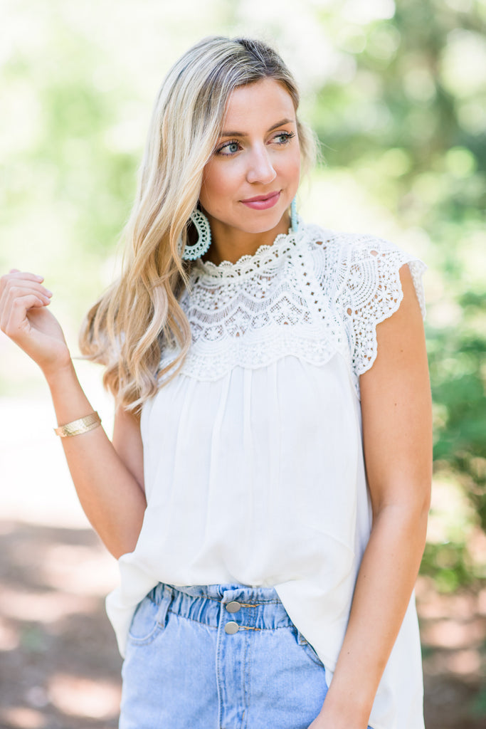 Known To Be Beautiful Off White Crochet Top