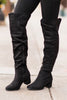 boots, over the knee, solid, chunky heel, black, solid, winter