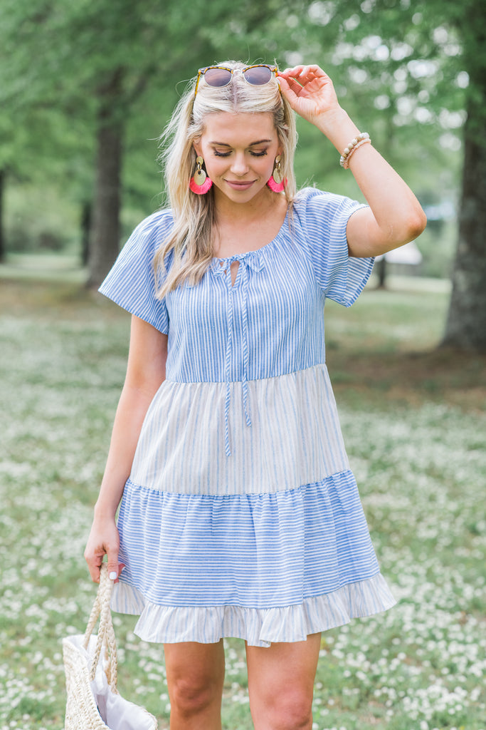 Let Your Light Shine Peasant Dress, Blue
