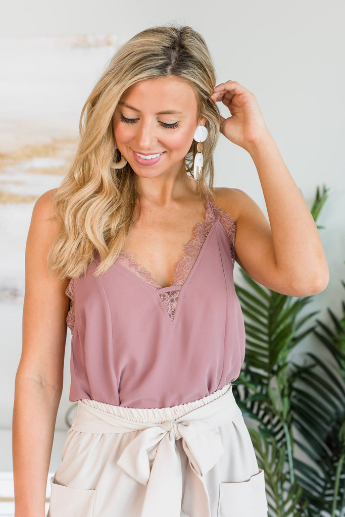 Lovely In Love Mauve Pink Lace Trim Tank